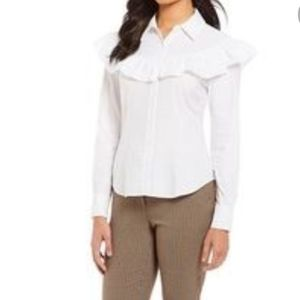 NWT Antonio Melani Jessie button up Ruffle blouse